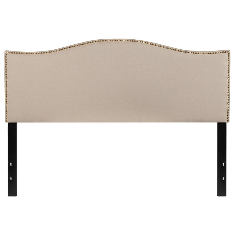 Flash Furniture Lexington Upholstered Queen Size Headboard with Decorative Nail Trim in Beige Fabric (HG-HB1707-Q-B-GG)