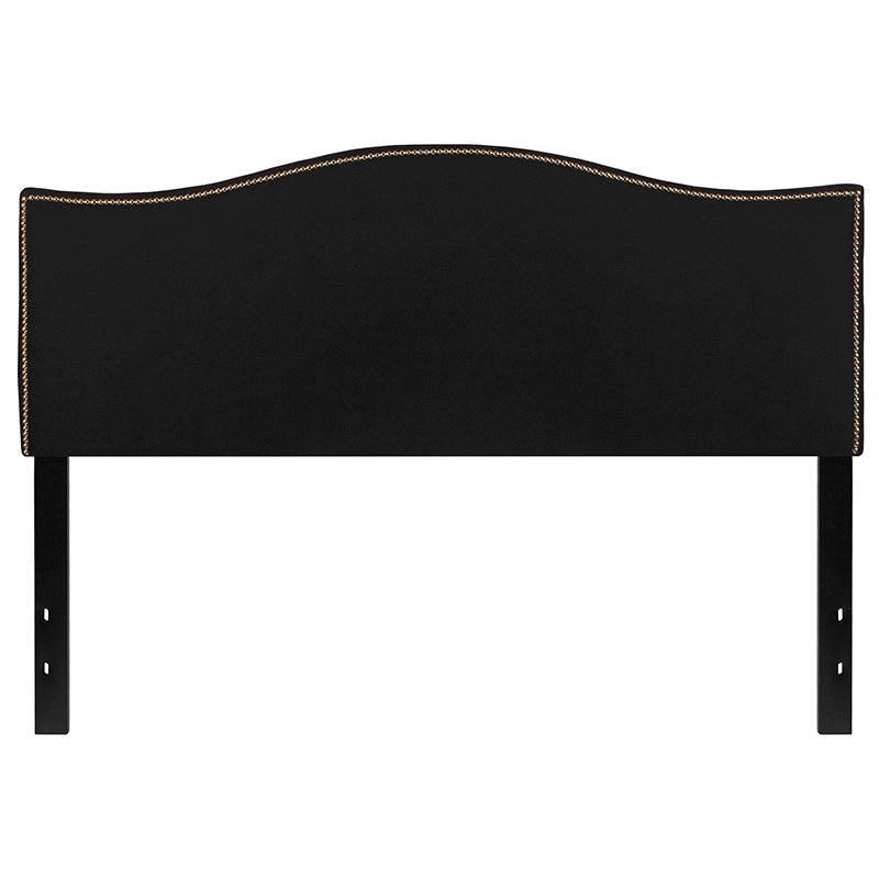 Flash Furniture Lexington Upholstered Queen Size Headboard with Decorative Nail Trim in Black Fabric (HG-HB1707-Q-BK-GG)