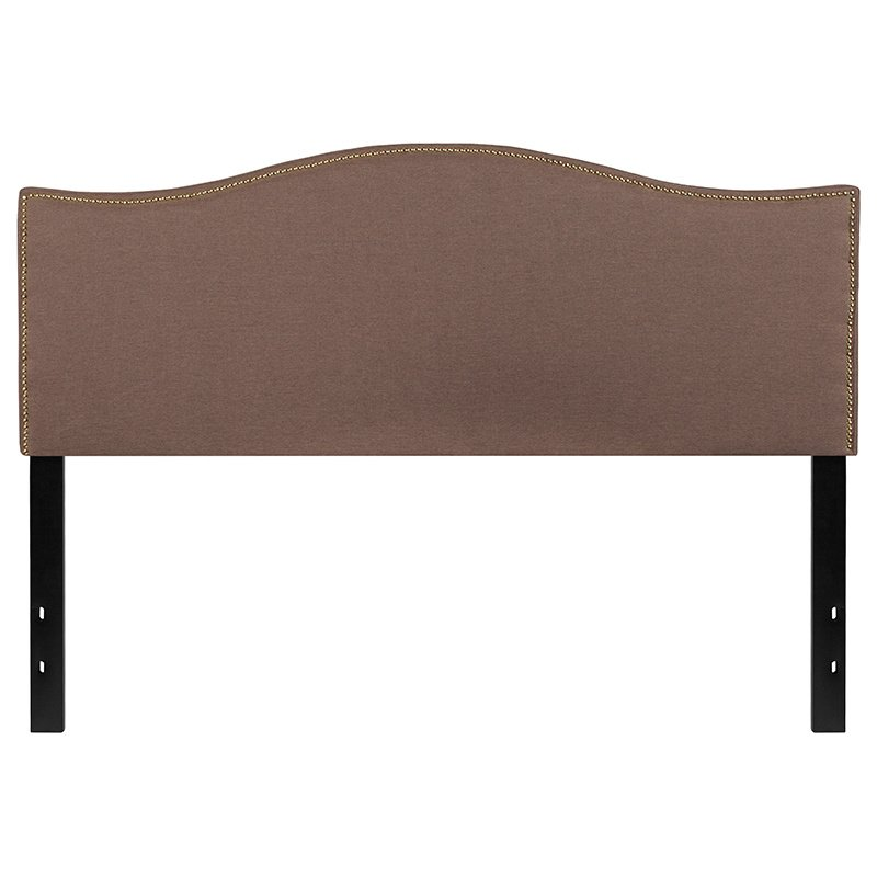 Flash Furniture Lexington Upholstered Queen Size Headboard with Decorative Nail Trim in Camel Fabric (HG-HB1707-Q-C-GG)