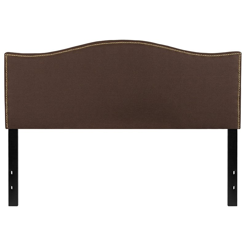 Flash Furniture Lexington Upholstered Queen Size Headboard with Decorative Nail Trim in Dark Brown Fabric (HG-HB1707-Q-DBR-GG)