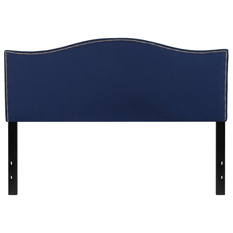 Flash Furniture Lexington Upholstered Queen Size Headboard with Decorative Nail Trim in Navy Fabric (HG-HB1707-Q-N-GG)