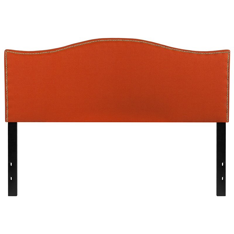 Flash Furniture Lexington Upholstered Queen Size Headboard with Decorative Nail Trim in Orange Fabric (HG-HB1707-Q-O-GG)