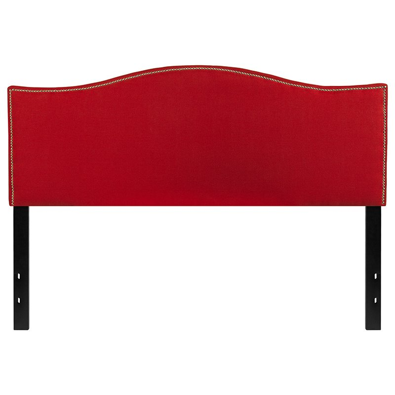 Flash Furniture Lexington Upholstered Queen Size Headboard with Decorative Nail Trim in Red Fabric (HG-HB1707-Q-R-GG)
