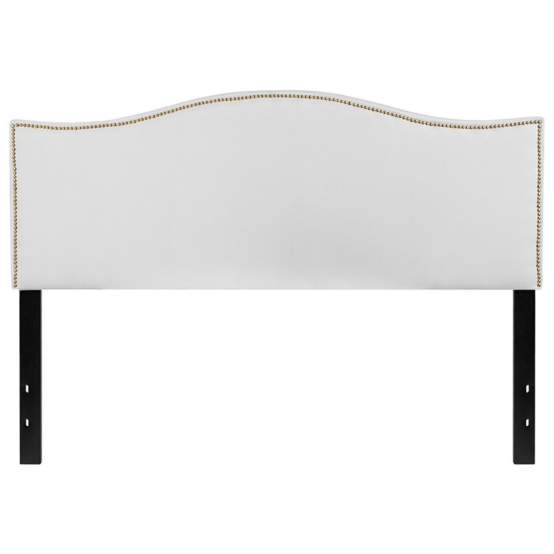 Flash Furniture Lexington Upholstered Queen Size Headboard with Decorative Nail Trim in White Fabric (HG-HB1707-Q-W-GG)