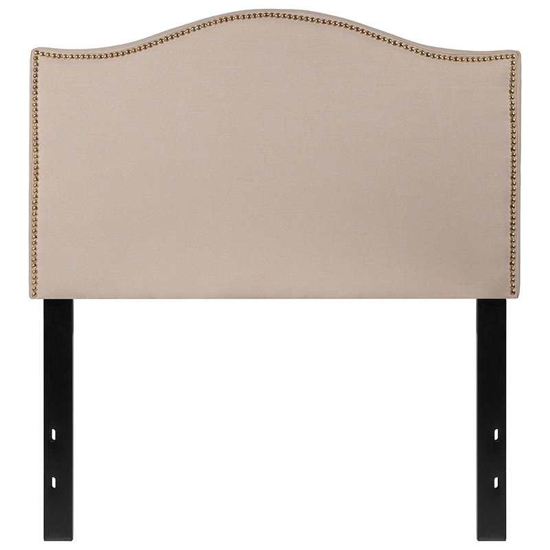 Flash Furniture Lexington Upholstered Twin Size Headboard with Decorative Nail Trim in Beige Fabric (HG-HB1707-T-B-GG)