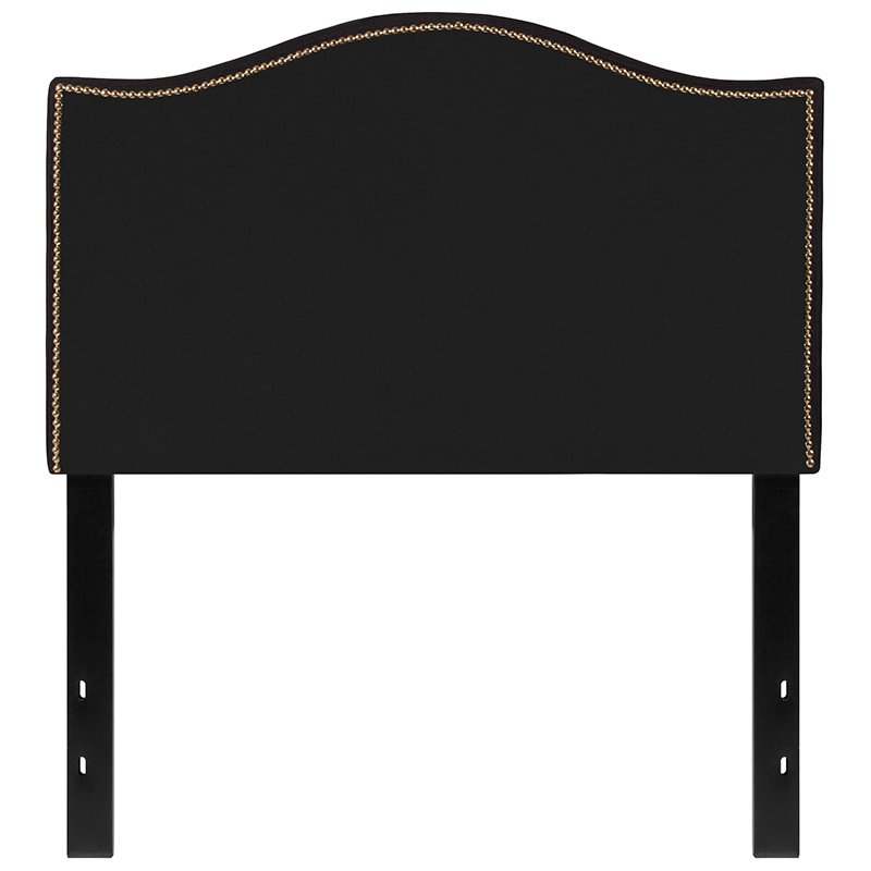 Flash Furniture Lexington Upholstered Twin Size Headboard with Decorative Nail Trim in Black Fabric (HG-HB1707-T-BK-GG)