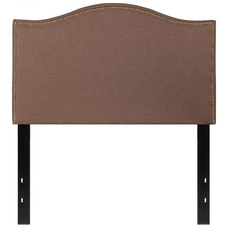 Flash Furniture Lexington Upholstered Twin Size Headboard with Decorative Nail Trim in Camel Fabric (HG-HB1707-T-C-GG)
