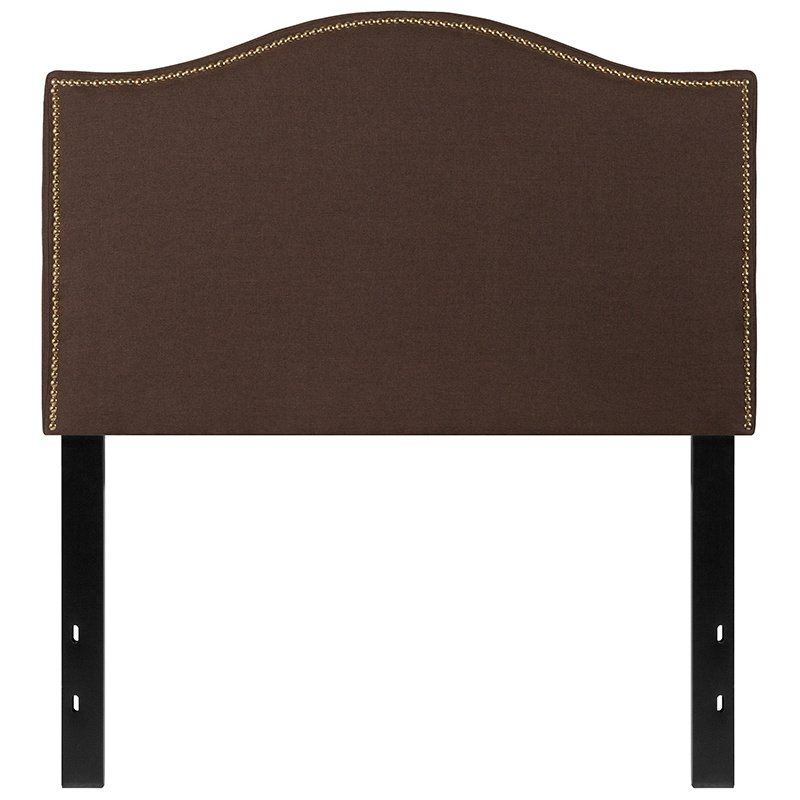 Flash Furniture Lexington Upholstered Twin Size Headboard with Decorative Nail Trim in Dark Brown Fabric (HG-HB1707-T-DBR-GG)