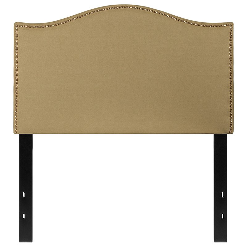 Flash Furniture Lexington Upholstered Twin Size Headboard with Decorative Nail Trim in Green Fabric (HG-HB1707-T-G-GG)
