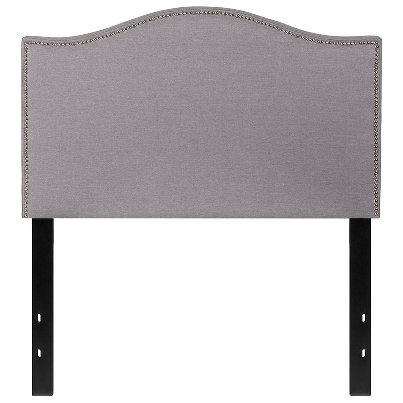 Flash Furniture Lexington Upholstered Twin Size Headboard with Decorative Nail Trim in Light Gray Fabric (HG-HB1707-T-LG-GG)