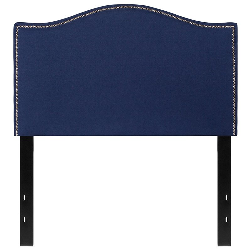 Flash Furniture Lexington Upholstered Twin Size Headboard with Decorative Nail Trim in Navy Fabric (HG-HB1707-T-N-GG)