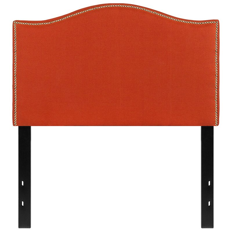 Flash Furniture Lexington Upholstered Twin Size Headboard with Decorative Nail Trim in Orange Fabric (HG-HB1707-T-O-GG)