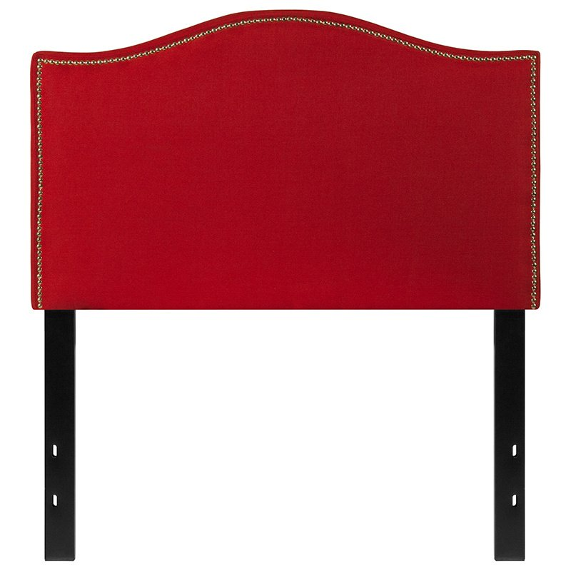 Flash Furniture Lexington Upholstered Twin Size Headboard with Decorative Nail Trim in Red Fabric (HG-HB1707-T-R-GG)