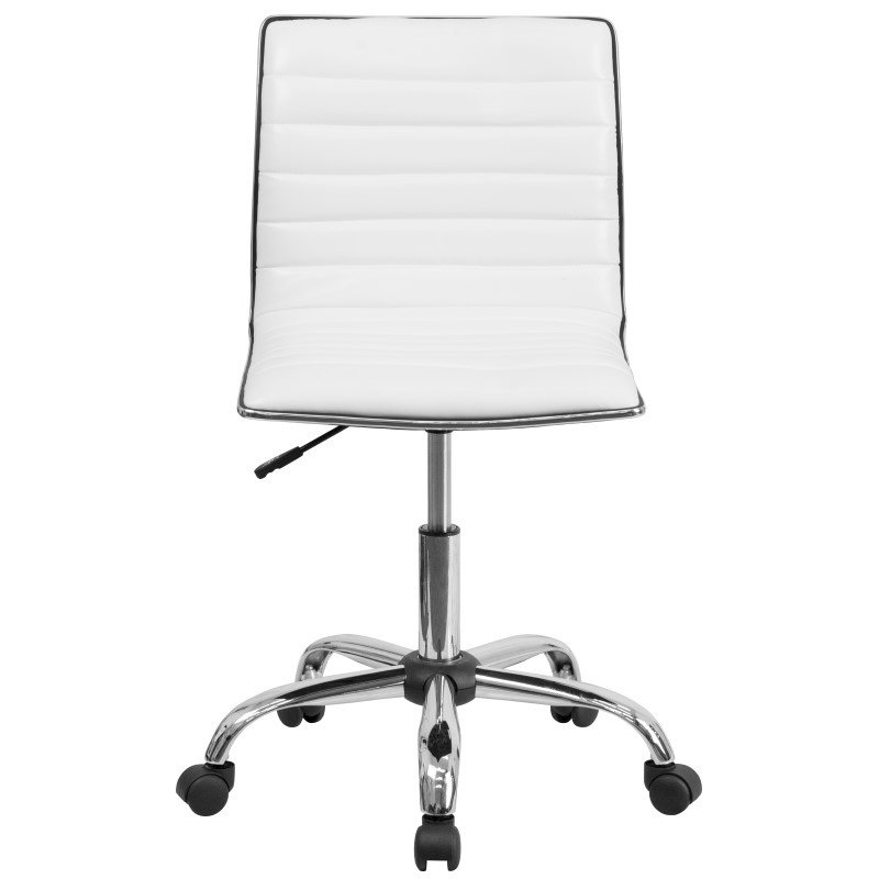 Flash Furniture Low Back Armless White Ribbed Designer Swivel Task Chair