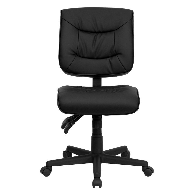 Flash Furniture Low Back Black Leather Multi-Functional Swivel Task Chair