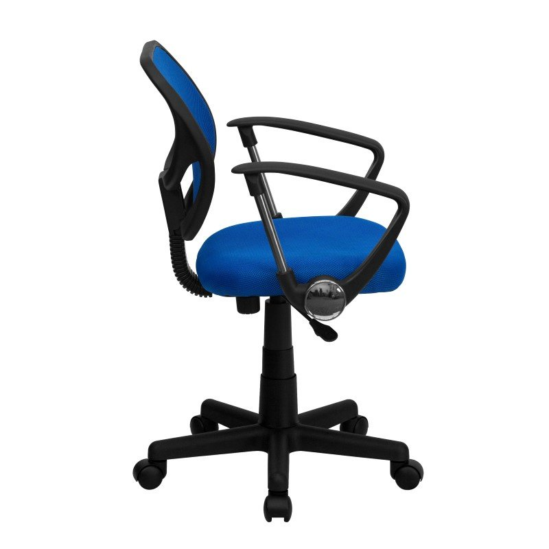 Flash Furniture Low Back Blue Mesh Swivel Task Chair with Arms
