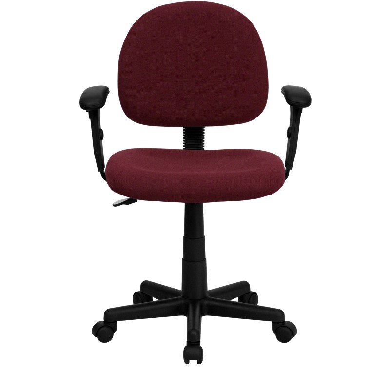 Flash Furniture Low Back Ergonomic Burgundy Fabric Swivel Task Chair with Height Adjustable Arms
