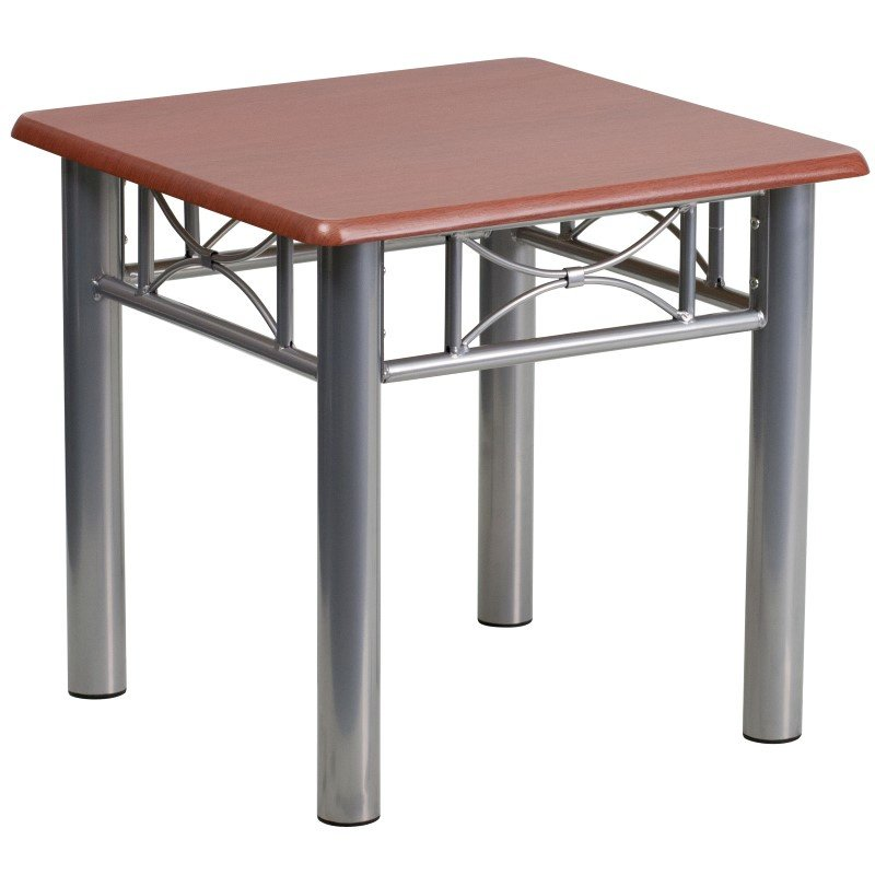 Flash Furniture Mahogany Laminate End Table with Silver Steel Frame