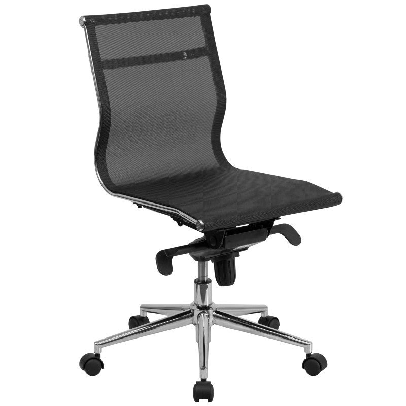 Flash Furniture Mid-Back Armless Black Mesh Executive Swivel Office Chair with Synchro-Tilt Mechanism