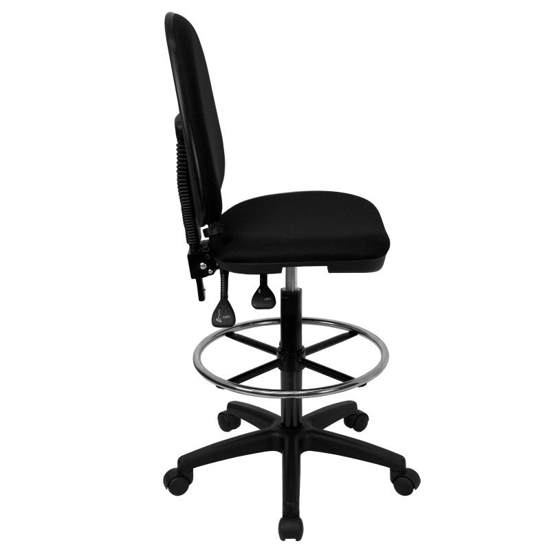 Flash Furniture Mid-Back Black Fabric Multi-Functional Drafting Chair with Adjustable Lumbar Support