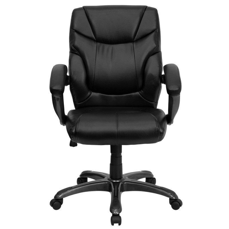 Flash Furniture Mid-Back Black Leather Overstuffed Swivel Task Chair