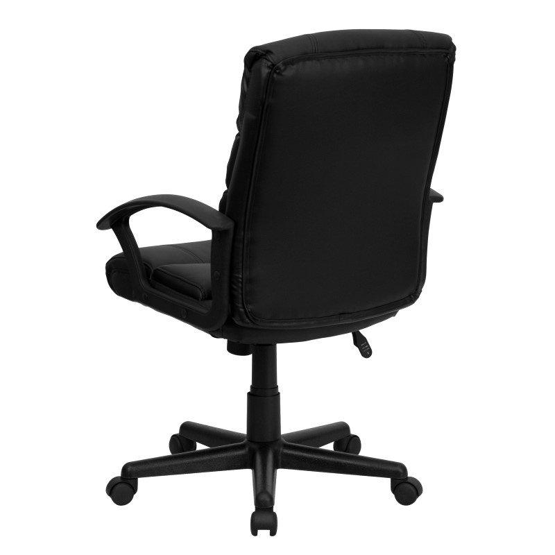 Flash Furniture Mid Back Black Leather Swivel Task Chair