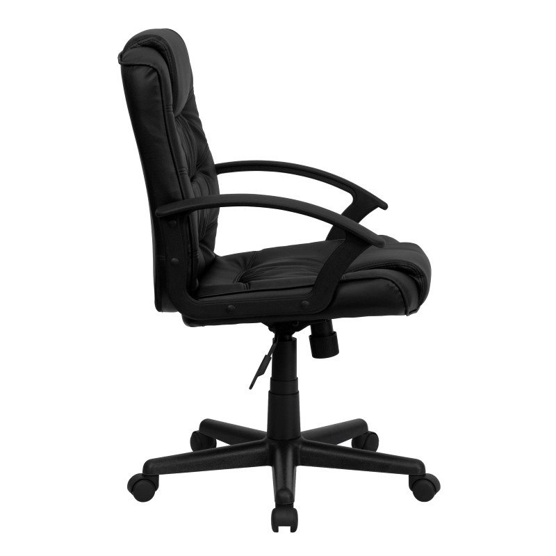 Flash Furniture Mid-Back Black-Leather' Swivel Task Chair