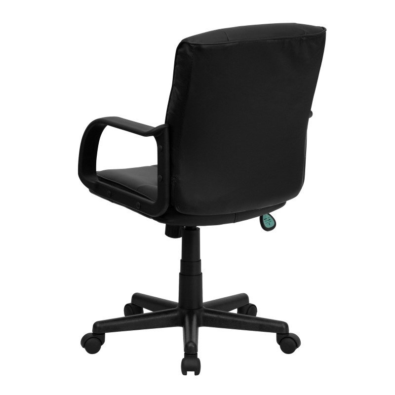 Flash Furniture Mid-Back Black Leather Swivel Task Chair with Nylon Arms
