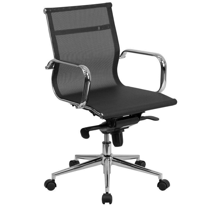 Flash Furniture Mid-Back Black Mesh Executive Swivel Office Chair with Synchro-Tilt Mechanism