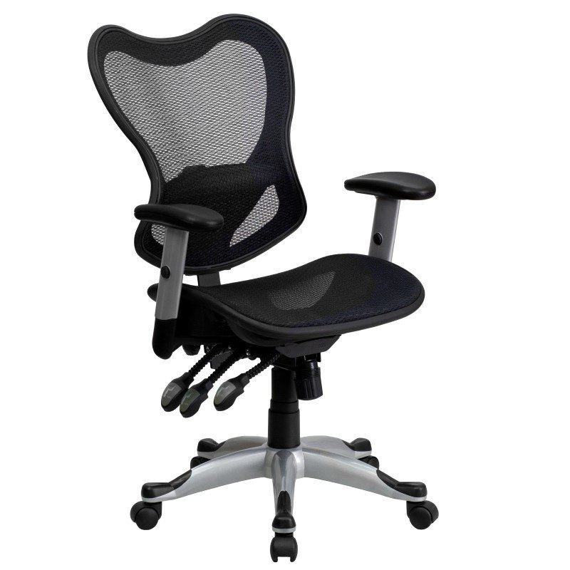 Flash Furniture Mid-Back Black Mesh Executive Swivel Office Chair with Triple Paddle Control