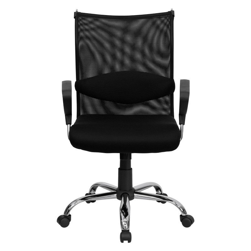 Flash Furniture Mid-Back Black Mesh Swivel Manager's Chair with Adjustable Lumbar Support