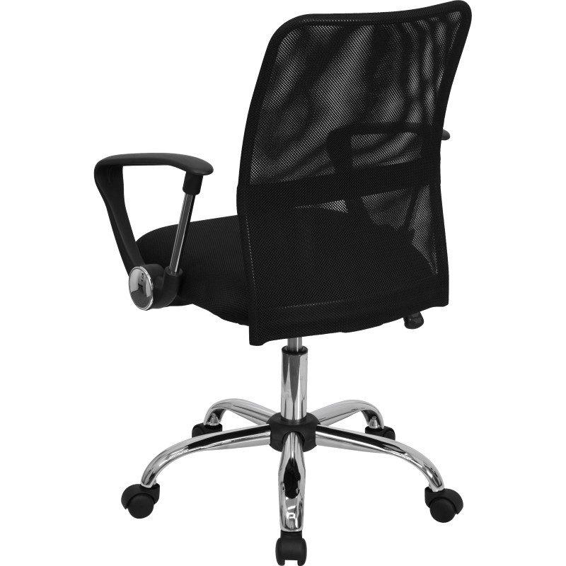 Flash Furniture Mid-Back' Black Mesh Swivel Task Chair with Chrome Base
