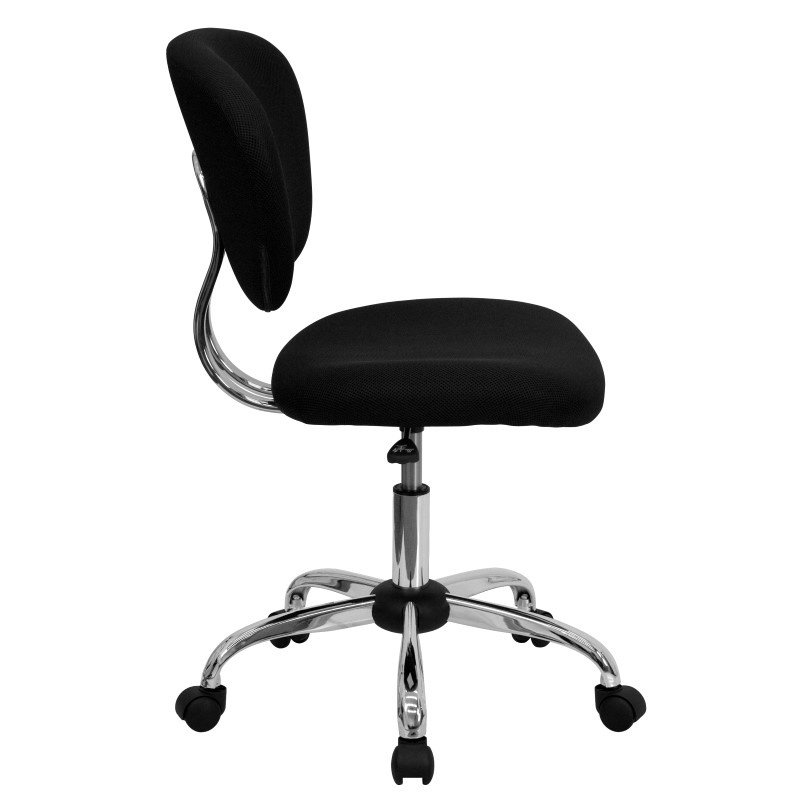 Flash Furniture Mid-Back Black Mesh' Swivel Task Chair with Chrome Base
