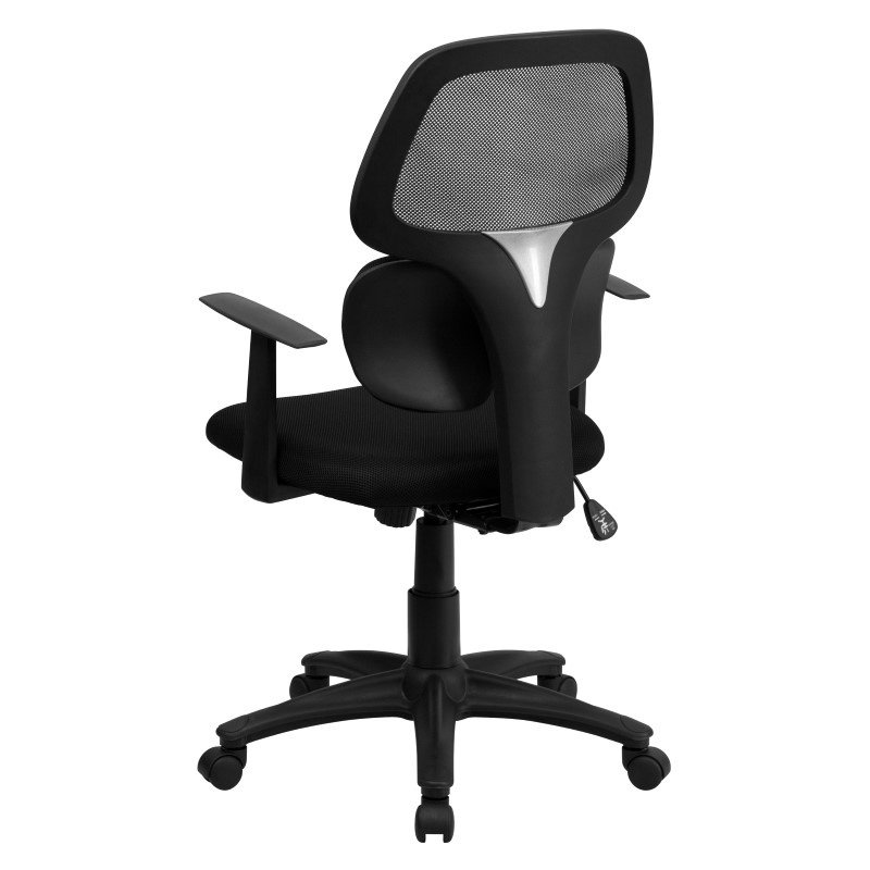 Flash Furniture Mid-Back Black Mesh Swivel Task Chair with Flexible Dual Lumbar Support