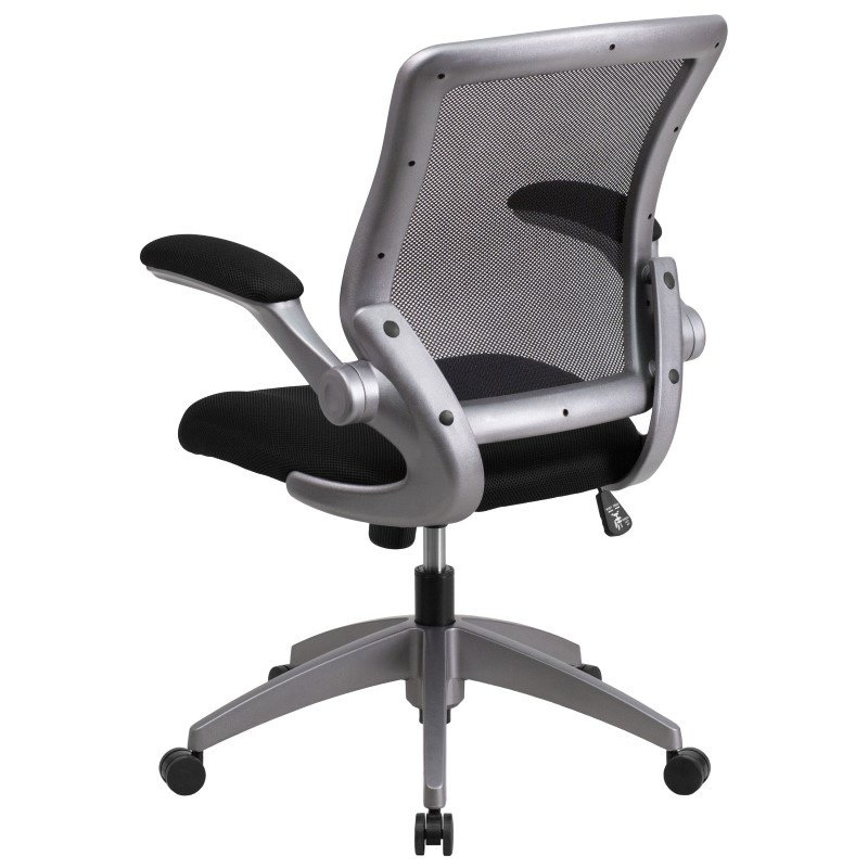 Flash Furniture Mid-Back Black Mesh Swivel Task Chair with Gray Frame and Flip-Up Arms