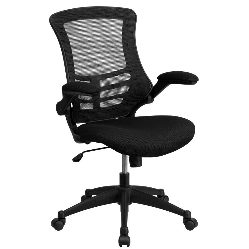 Flash Furniture Mid-Back Black Mesh Swivel Task Chair with Mesh Padded Seat and Flip-Up Arms