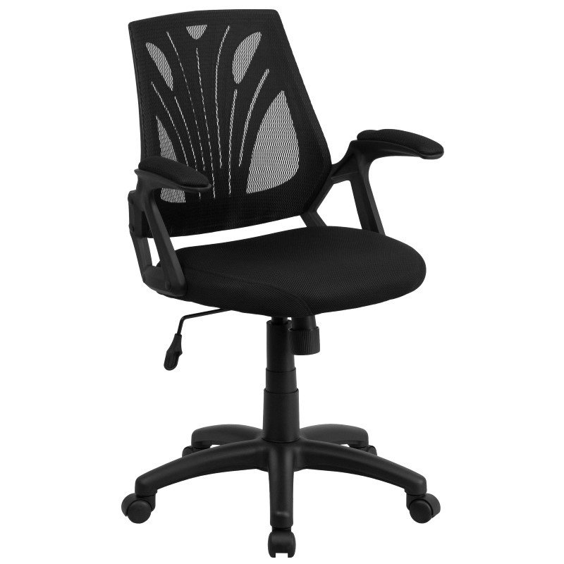 Flash Furniture Mid-Back Black Mesh' Swivel Task Chair with Mesh Padded Seat