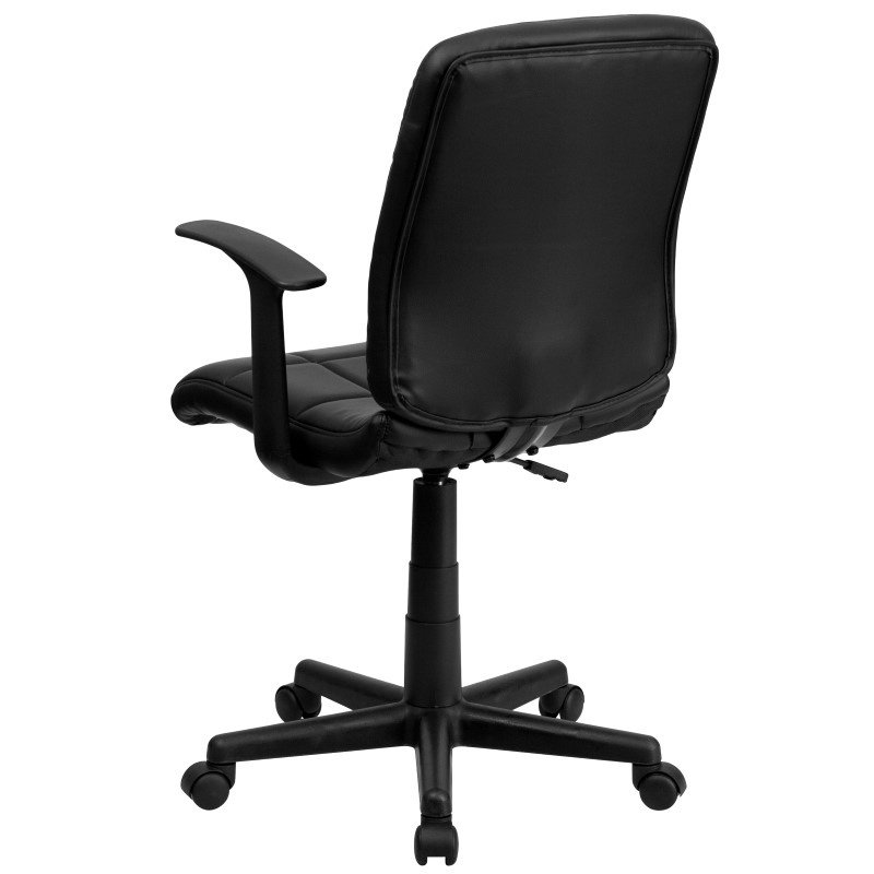 Flash Furniture Mid-Back Black Quilted Vinyl Swivel Task Chair with Nylon Arms