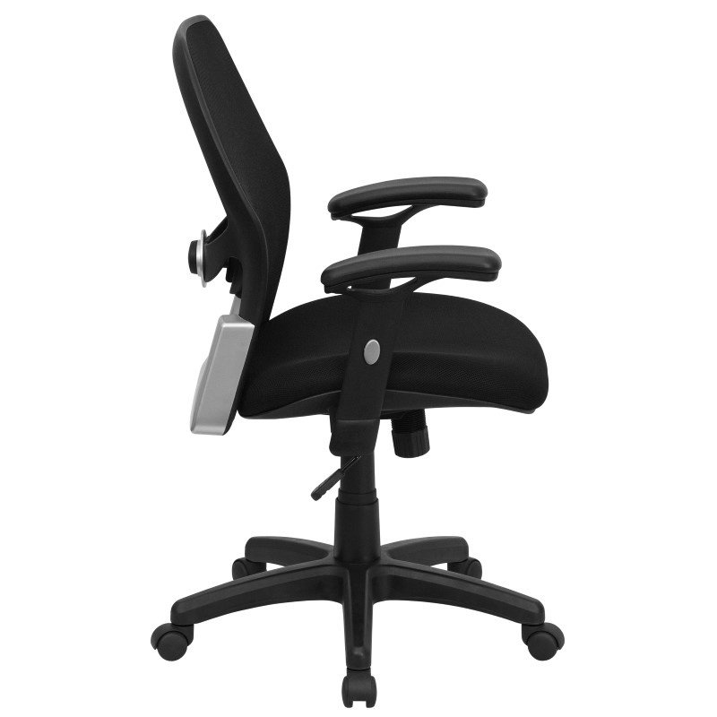 Flash Furniture Mid-Back Black Super Mesh Executive Swivel Office Chair with Mesh Padded Seat
