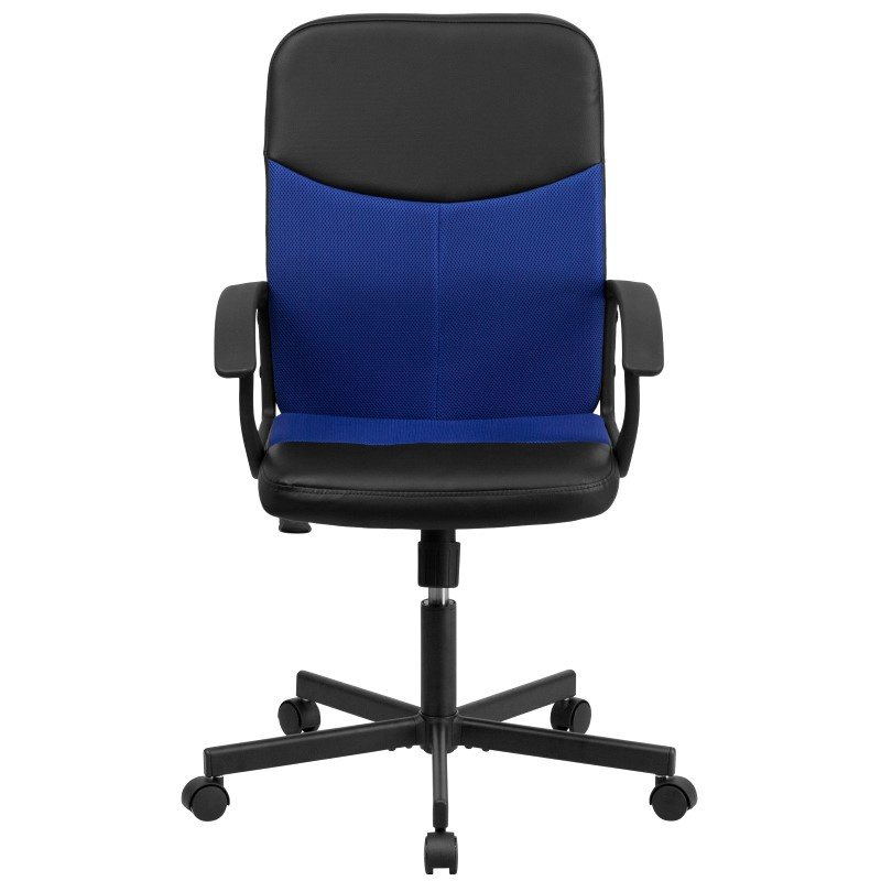 Flash Furniture Mid-Back Black Vinyl and Blue Mesh Racing Executive Swivel Office Chair