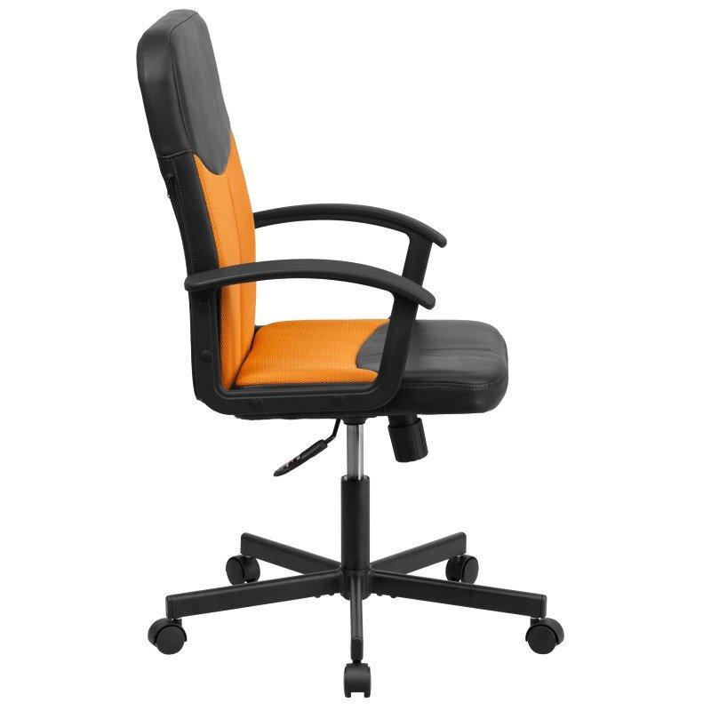 Flash Furniture Mid-Back Black Vinyl and Orange Mesh Racing Executive Swivel Office Chair