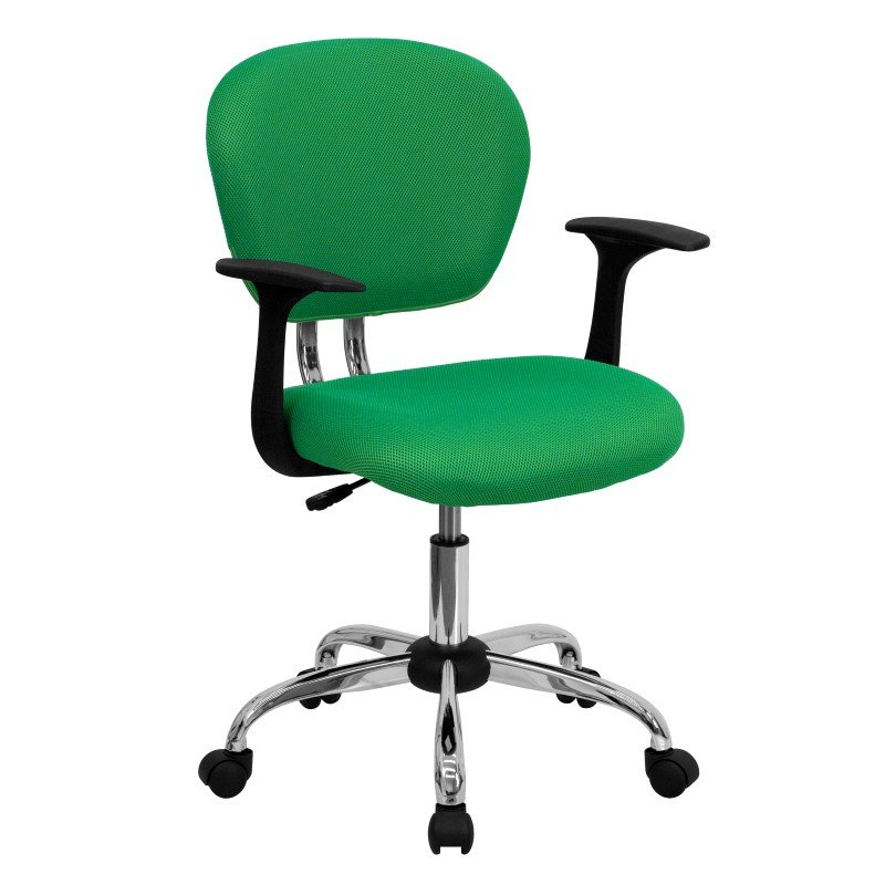 Flash Furniture Mid-Back Bright Green Mesh Swivel Task Chair with Chrome Base and Arms