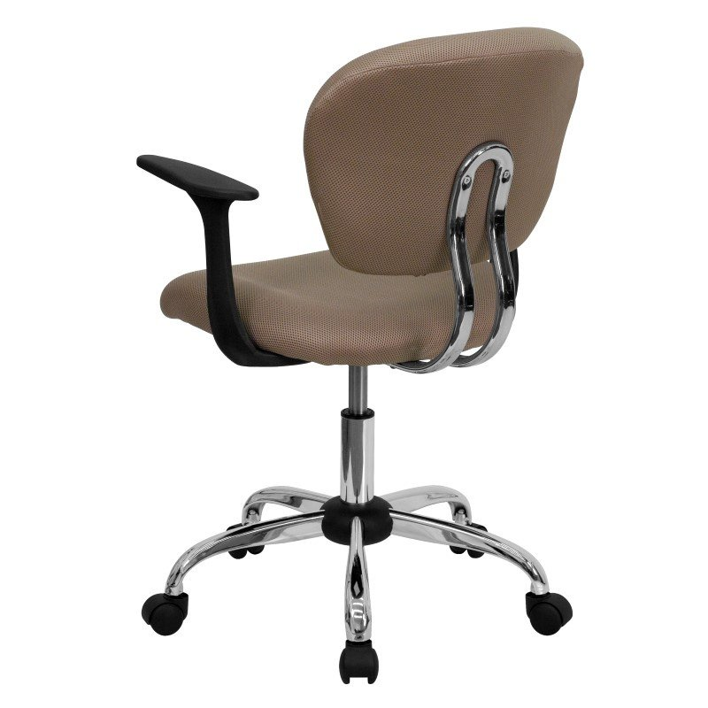 Flash Furniture Mid-Back Coffee Brown Mesh Swivel Task Chair with Chrome Base and Arms