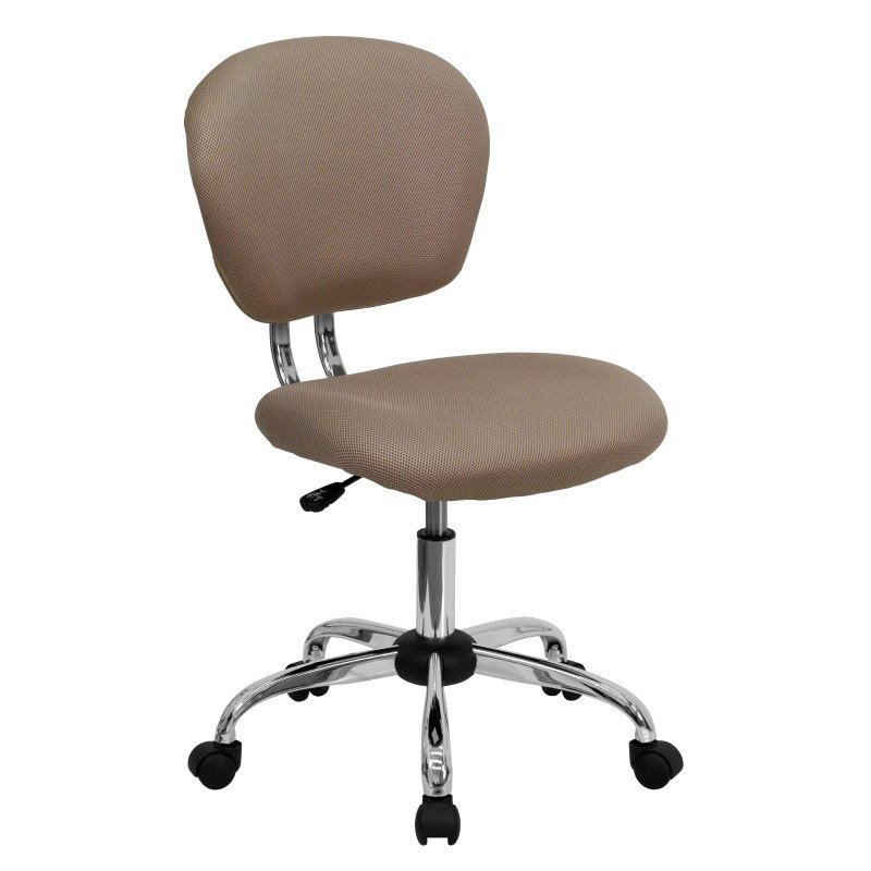 Flash Furniture Mid-Back Coffee Brown Mesh Swivel Task Chair with Chrome Base