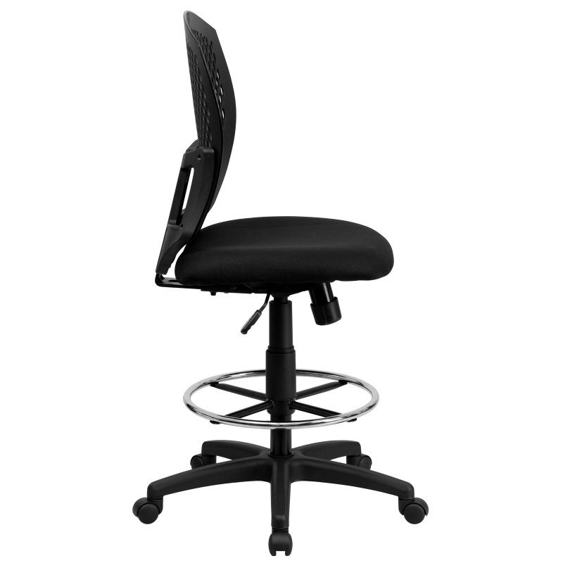 Flash Furniture Mid-Back Designer Back Drafting Chair with Padded Fabric Seat