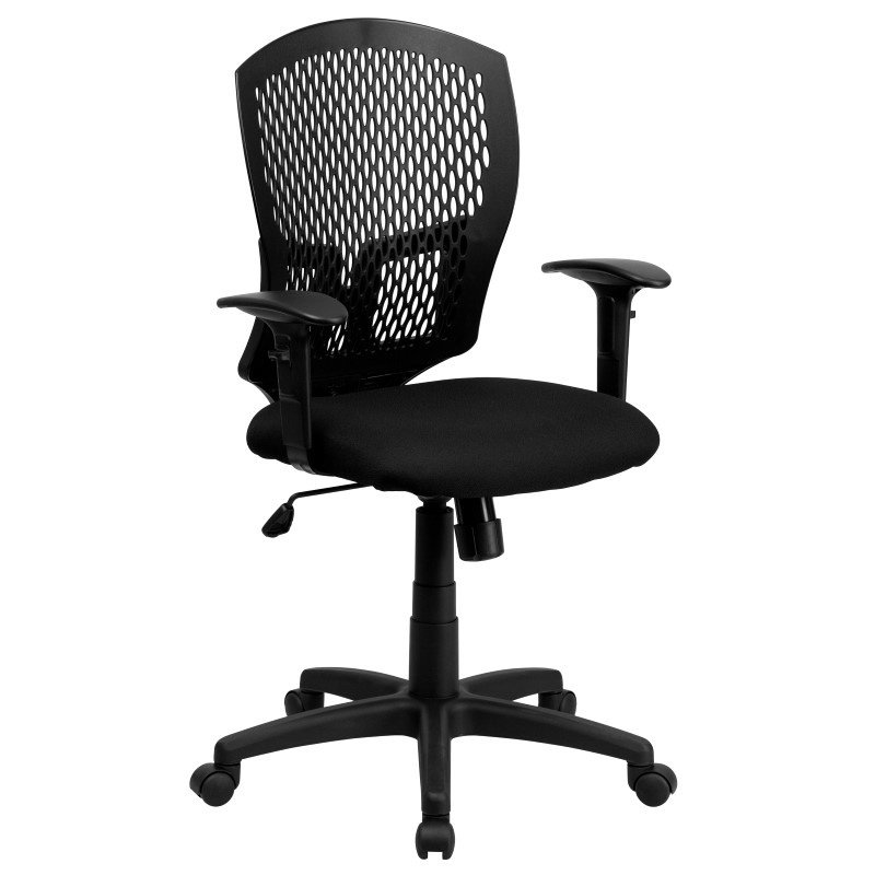 Flash Furniture Mid-Back Designer Back Swivel Task Chair with Padded Fabric Seat and Height Adjustable Arms