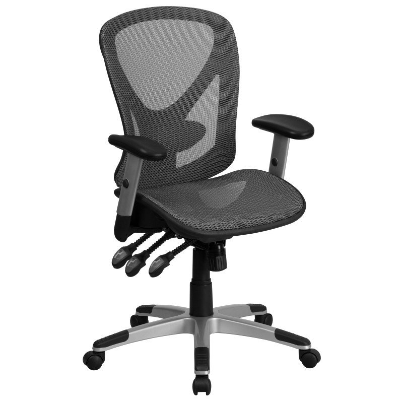 Flash Furniture Mid-Back Gray Mesh Executive Swivel Office Chair with Mesh Seat and Back and Triple Paddle Multi-Function Control