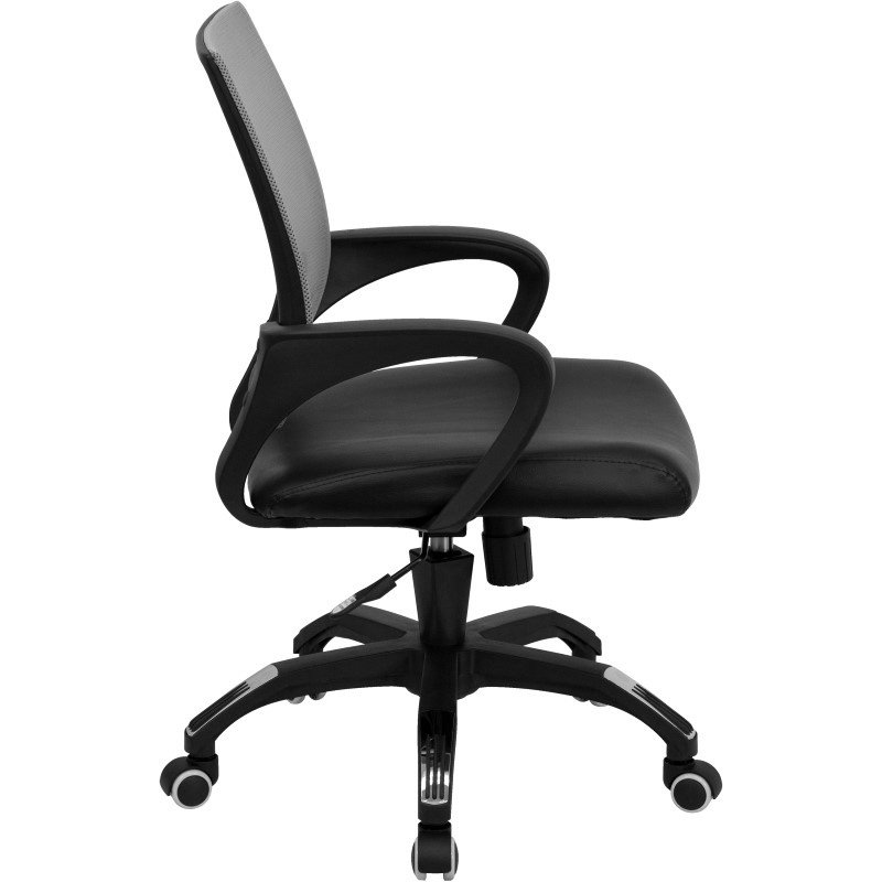 Flash Furniture Mid-Back Gray Mesh Swivel Task Chair with Black Leather Padded Seat