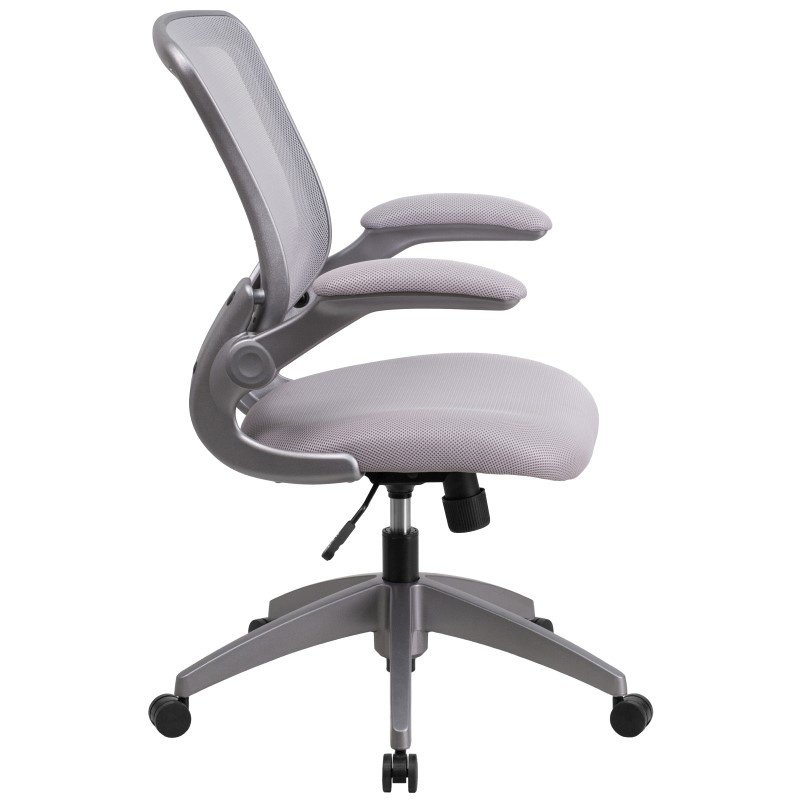 Flash Furniture Mid-Back Gray Mesh Swivel Task Chair with Gray Frame and Flip-Up Arms