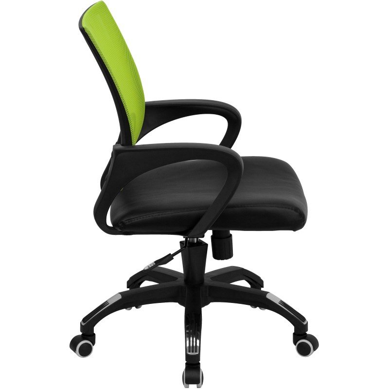 Flash Furniture Mid-Back Green Mesh Swivel Task Chair with Black Leather Padded Seat